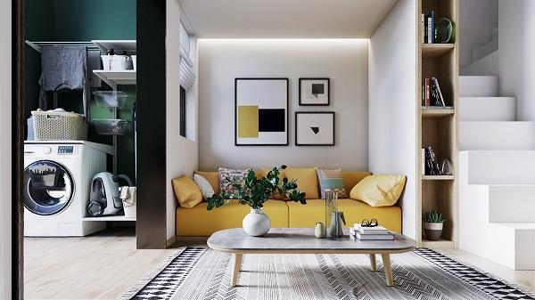Sofa văng với kích thước nhỏ gọn được kê sát mép tường giúp không gian trở nên rộng và thoáng hơn.