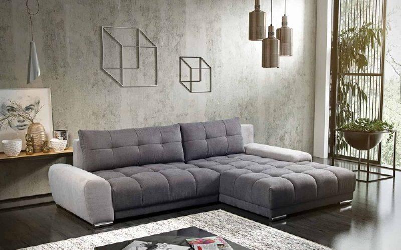 Điểm đặc biệt của mẫu sofa góc giường này nằm ở phần tựa lưng có thể hạ thấp xuống để nới rộng phần mặt ngồi tạo thành chiếc giường êm ái, thoải mái